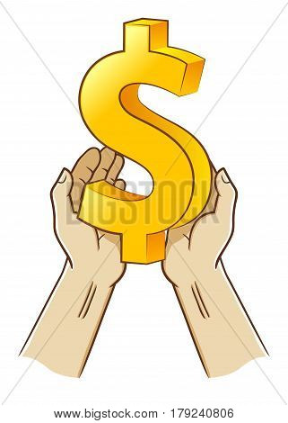 Vector stock of two hand holding dollar currency symbol
