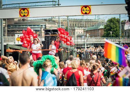 Stockholm, Sweden – July 30, 2016: People Participating In Stockholm Pride Parade On Hantverkargatan