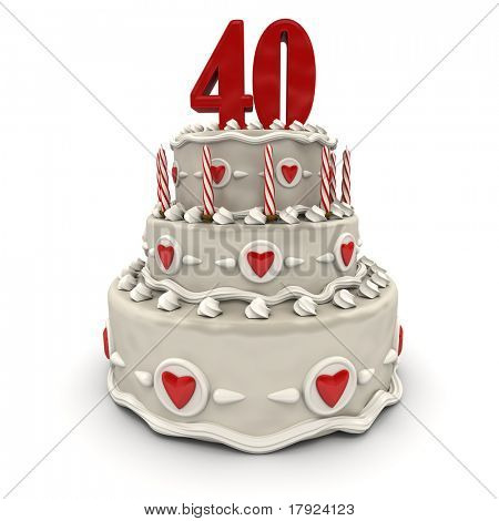 3D rendering of a multi-tiered cake with a number Forty on top