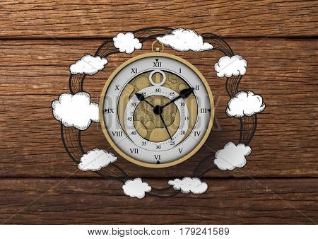 Digital composite of 3D Clock with Cloud illustrion drawings against wood