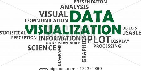 A word cloud of data visualization related items
