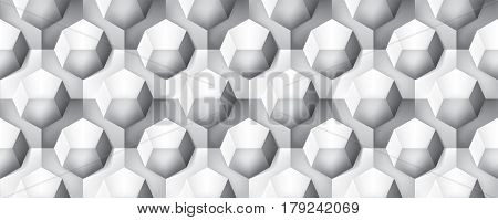 Volume realistic seamless texture, octahedron, gray 3d geometric pattern, design vector background