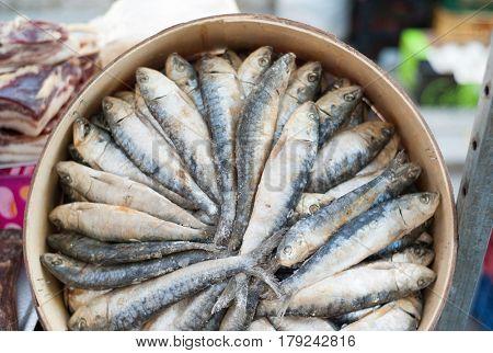 Dried fish offered at mediterranean market stall