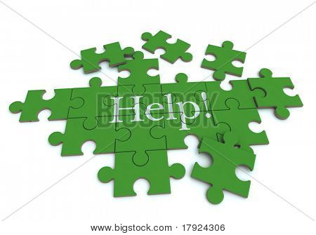 3D rendering of a forming puzzle with the word Help!