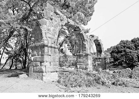 Phaselis Sea  Bush Gate  In  Myra  The      Old Column  Stone  Construction Asia Greece And  Roman T