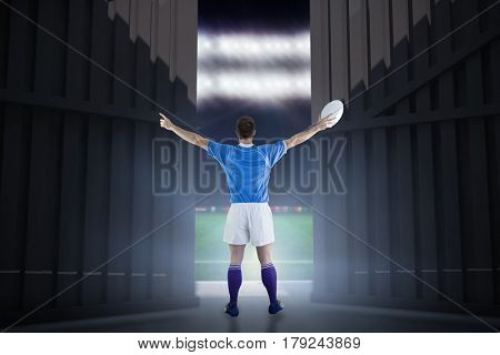 Rugby player about to throw a rugby ball against football pitch with world cup flags 3d