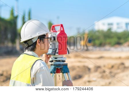 Construction Engineer Checking Construction Site For New Infrastructure Construction Project. Photo