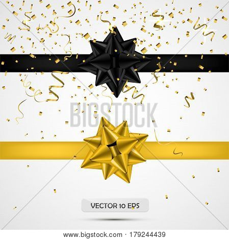 Black and yellow satin bows.Vector illustration. White background. Luxury bows and ribbons collection with confetti. For present decoration sale promotion birthday party new year valentines day.