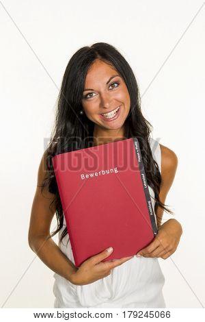 woman with application portfolio