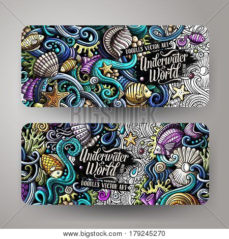 Cartoon vector hand-drawn underwater life, marine doodle corporate identity. 2 Horizontal banners design. Templates set