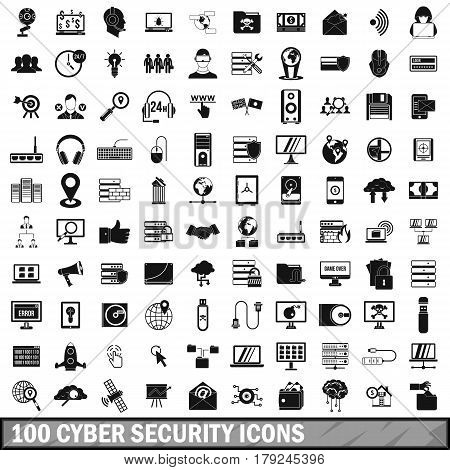 100 cyber security icons set in simple style for any design vector illustration
