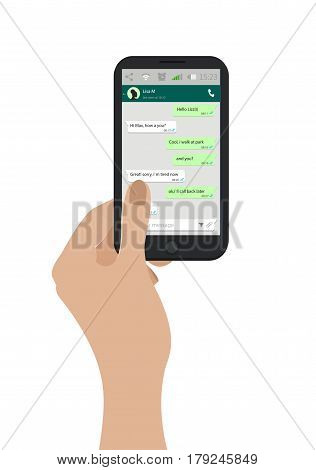 Hand Holding Mobile Phone. Vector Illustration. Social Network Concept. Messenger Window. Chating An
