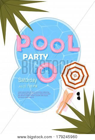 Pool Party Poster. Vector Illustration. Pool Party Invitation With Water, Pink Float, Beach Umbrella