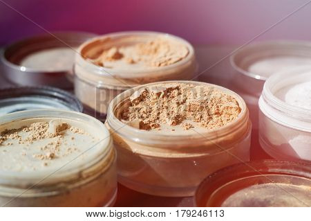 Beige make-up powder for perfect matt foundation. Variety of mineral powders of nude colors