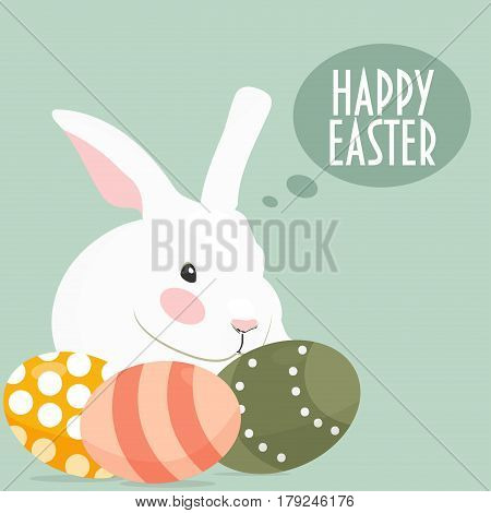 The Easter Bunny (also called the Easter Rabbit or Easter Hare) and Easter Eggs. Speech Bubble