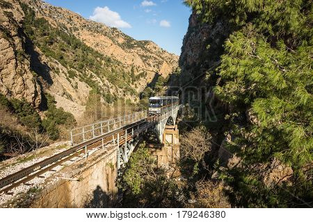 Cog Railway and train in Vouraikos gorge, Peloponnese, Greece