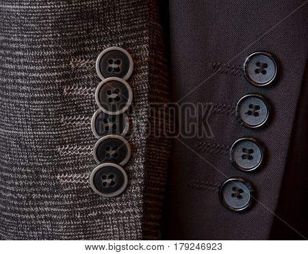 Buttons on a sleeve of a man's suit