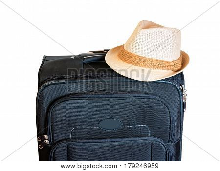 Black suitcase and hat isolated on white background