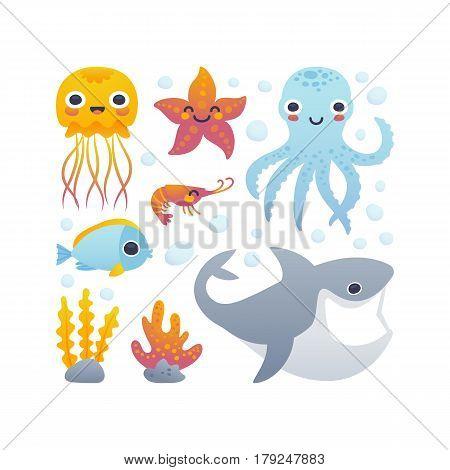 Vector illustration of funny cartoon jellyfish starfish octopus shrimp shark and fish. Set of sea animals.