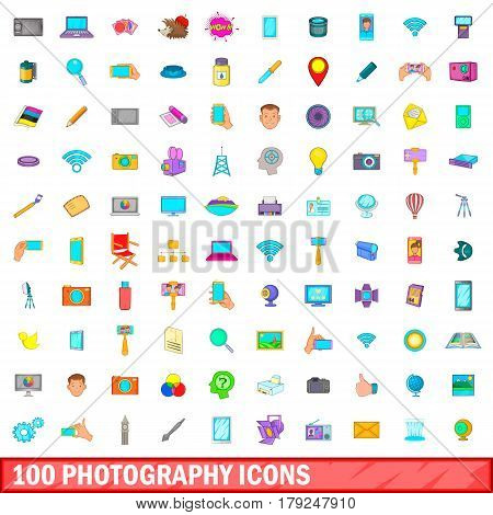 100 photography icons set in cartoon style for any design vector illustration