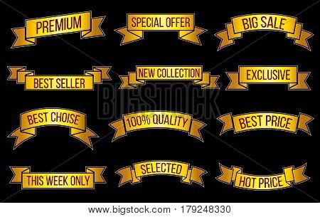 Luxury gold premium sales, exclusive offer vector banners set. Offer and sale exclusive, golden ribbon banner consumerism illustration