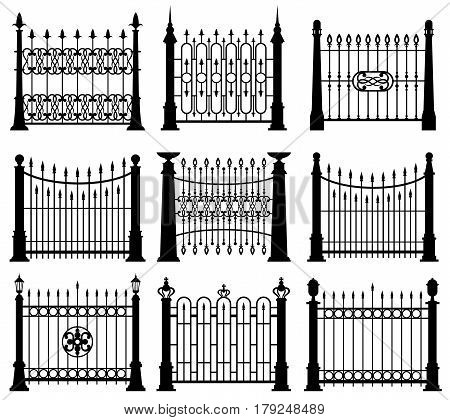 Black and white iron gates and fences architecture elements vector set. Frame barrier with steel rod illustration