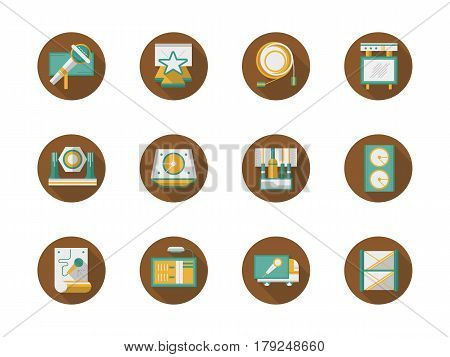 Sound and lighting system equipment, truss structure for stage, show advertising elements. Organization and conducting concerts and events. Collection of stylish flat color round vector icons.