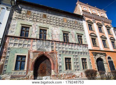 Ruined historic building in town Levoca Slovakia