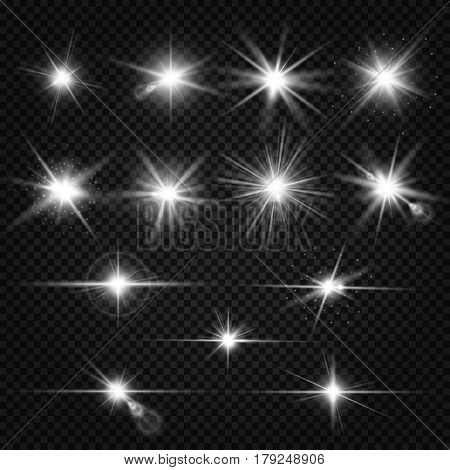 Twinkle lens flares, glare lighting vector effects. Collection of white star energy on on transparent background illustration poster