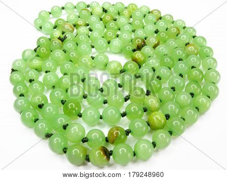 green onyx beads jewelry isolated on white background