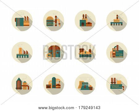 Industrial facilities and areas with plants, power stations, factories and warehouses. Architecture objects for industry. Collection of stylish flat gray round vector icons, long shadow.
