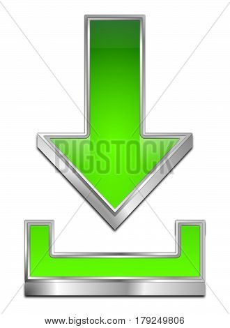 silver green Download Symbol - 3D illustration