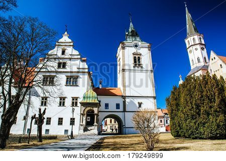 Historic town hall and St. James cathedral in town Levoca Slovakia