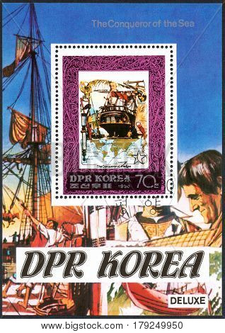 UKRAINE - CIRCA 2017: A postage stamp printed in DPR North Korea shows James Cook serie The Conqueror of the Sea circa 1980