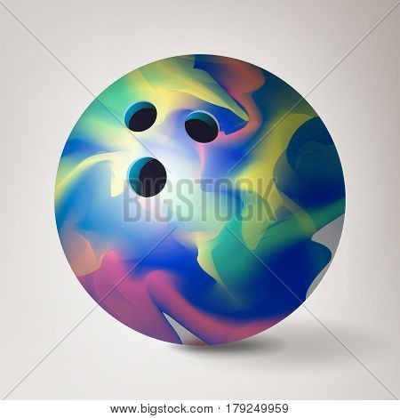 Bowling Ball Vector. 3D Realistic Illustration. Glossy Shiny