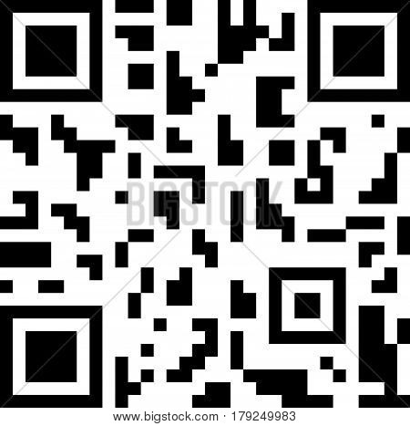 Abstract 2D barcode black and white vector illustration.