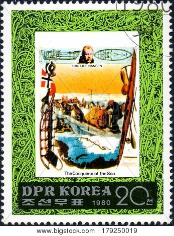 UKRAINE - CIRCA 2017: A postage stamp printed in DPR North Korea shows Fridtjof Nansen serie The Conqueror of the Sea circa 1980