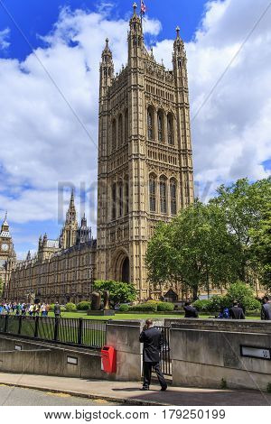 LONDON, GREAT BRITAIN - MAY 12, 2014: The Victoria Tower of the Palace of Westminster is an archival storehouse for parliamentary documents.