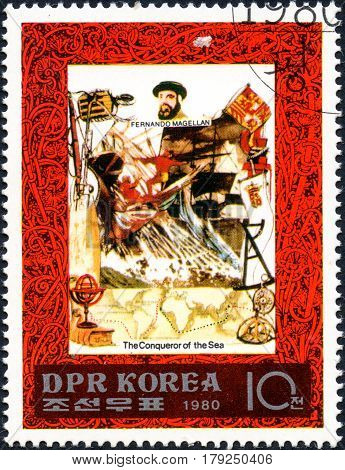 UKRAINE - CIRCA 2017: A postage stamp printed in DPR North Korea shows Ferdinand Magellan serie The Conqueror of the Sea circa 1980