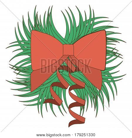 opaque color ornament decorative pine arch with red ribbon vector illustration