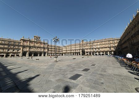 SALAMANCA, SPAIN - JULY 24, 2016: Salamanca (Castilla y Leon Spain): the historic Plaza Mayor the main square of the city