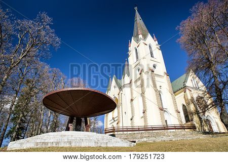 Basilica of the Visitation of the Blessed Virgin Mary on hill Marianska hora. Levoca Slovakia. Christian pilgrimage site