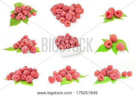Group of raspberries with leaves isolated on a white background with clipping path