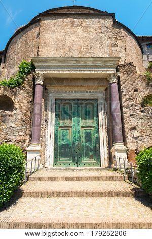 The Temple of Romulus (The basilica of Santi Cosma e Damiano) in the Roman Forum, Rome, Italy