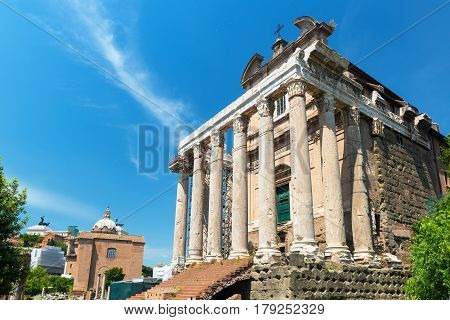 The Temple of Antoninus and Faustina (the church of San Lorenzo in Miranda) in Roman Forum, Rome, Italy