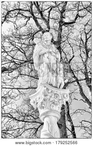 Saint John of Nepomuk statue in Marianska hora Levoca -Slovakia. Christian pilgrimage site
