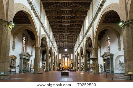 The interior of the Basilica of Santa Croce in Florence, Italy