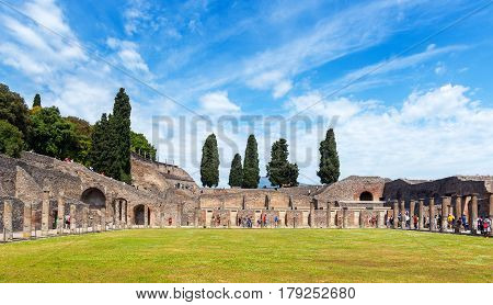 POMPEII, ITALY - MAY 13, 2014: The ruins of the city. Pompeii is an ancient Roman city died from the eruption of Mount Vesuvius in 79 AD.