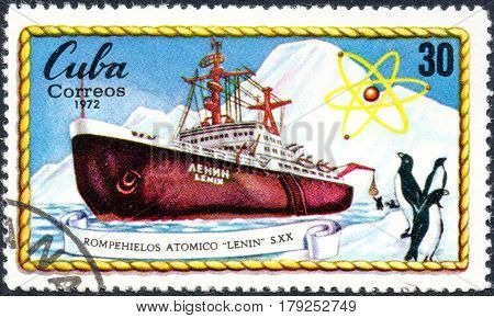 UKRAINE - CIRCA 2017: A postage stamp printed in Cuba shows russian Atomic Icebreakers Lenin circa 1972