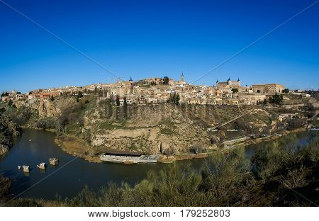 Panoramic view of Toledo city with Tajo river, Castilla la Mancha, Spain